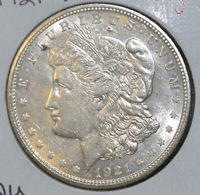 1921-D AU Details, Almost Uncirculated MORGAN SILVER DOLLAR $1 COIN