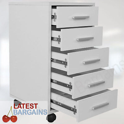 White Filing Cabinet Cupboard 5 Drawers Home Office Study Wheels Rolling Storage