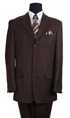 Men/'s Basic 3 button Jacket and Pants Solid 2 Piece Set By Fortino Landi 802P