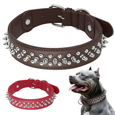 Genuine Leather Dog Collar Heavy Duty Spiked Studded for Large Breeds Rottweiler