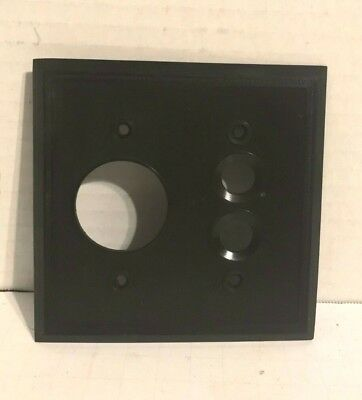 Antique Vintage Push Button Switch Round Outlet Cover Plate Dark Brown Bakelite