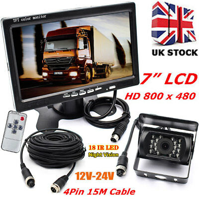 "18LEDs Reversing Rear View Camera+12V-24V 7"" LCD Monitor for Bus Truck Motorhome"