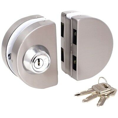 5X(Entry Gate 10-12mm Glass Swing Push Sliding Door Lock with Keys G2Q4)