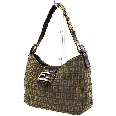 0baf70a472 FENDI Zucca Pattern Hand Bag Green Brown Canvas Leather Vintage Italy Auth   T463