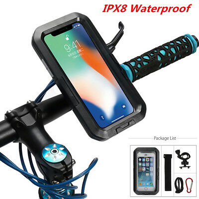 Motorcycle Bicycle Bike Handlebar Phone Holder IPX8 Waterproof Case For iPhone X