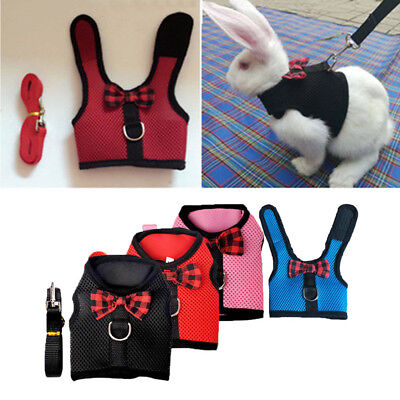 Pet Soft Mesh Harness With Leash Small Animal Lead for Rabbit Bunny Mesh Cloth