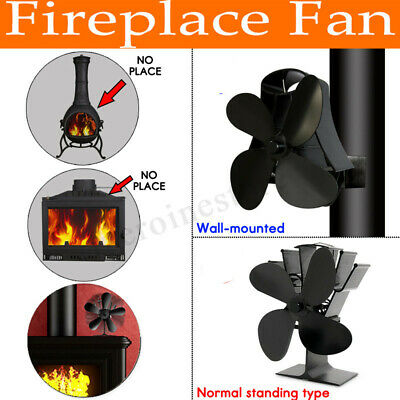 4/5 Blade Eco Friendly Stove Fan Heat Powered Log Burner Wall Mounted / Standing