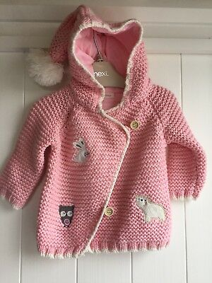 Next Girls Knitted Pink Hooded Cardigan 3-6 Months