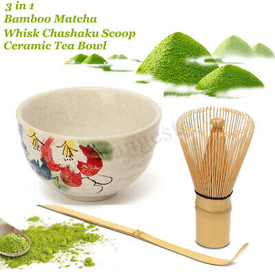 Japan Tea Ceremony Matcha Whisk + Chashaku Tea Scoop + Tea Bowl Chasen Ceramic