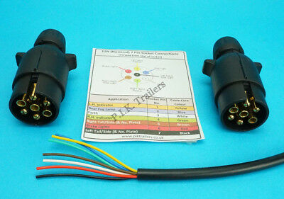 6 Metres 7 Core Cable with TWO 7 Pin 12N Plugs Kit for Connecting Trailers