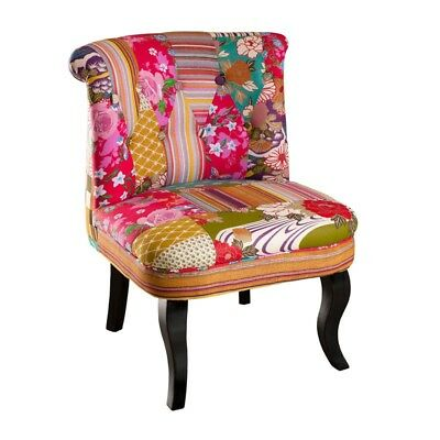 fauteuil crapaud patchwork - cathy - l 58 x l 63 x h 75 - neuf - eur