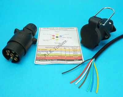 6 Metres 7 Core Cable & 7 Pin 12N Plug & Flying Socket Trailer Extension Kit