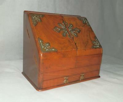 Antique Victorian Walnut Brass Mounted Writing/Stationary Cabinet