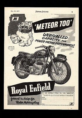 May 1955 Royal Enfield Meteor 700 Motorcycle.magazine Advert.