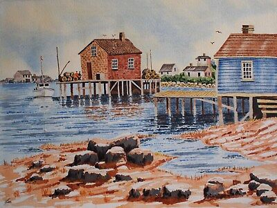 "Fishing village in Nova Scotia. Canada. Original watercolour painting 18""x 14"""