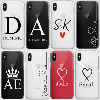 Personalised Initials Phone Case Clear Hard Cover For Huawei P20 Lite Y6 Y7 Y9….