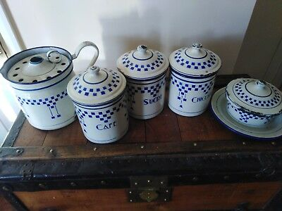 Enamel Kitchen Storage Tins Antique