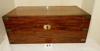 Antique Large Brass Bound Rosewood Campaign Writing Slope (B8)  C1256
