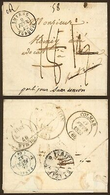 France Levant 1842 - Stampless cover Smyrne to Saar Union - Disinfected AIX47