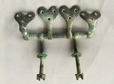 Antique Toilet Seat  Hearts Hinge Hardware Old Vtg Nickel Brass Hart 43-19J