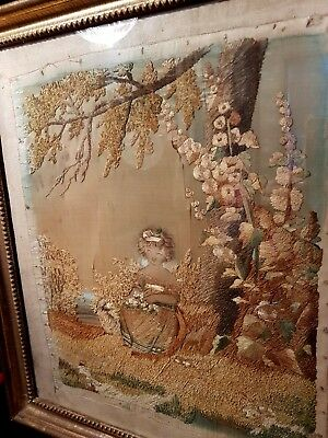 Antique Georgian Silkwork and hand painted picture. Original gilded frame c1820