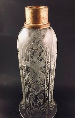 Victorian Acid Etched Glass Hurricane Candle Peg Lamp Camphene Chimney Shade