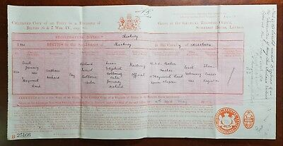 1881 Hackney Birth Certificate for William Orchard at 4 Heyworth Road, Clapton