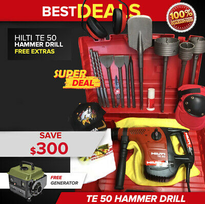Hilti Te 50 Hammer Drill, Preowned, Free Generator, Bits, Extras, Fast Ship