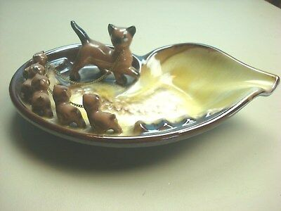 Brinn's Vintage Ceramic Ashtray Siamese Cat Family Mother & Kittens w/ Chain