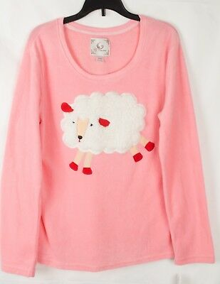Pj Couture Women's Pajama Top 3D Pink Sheep Appliqued Size M