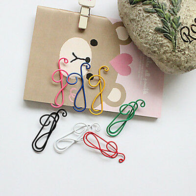 10Pcs Colorful Musical Note Paper Clips Stationary Office Supplies Random Color