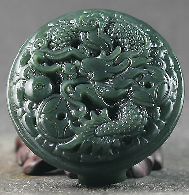 China Natural Nephrite Green Hetian Jade Dragon Coin Wealth Leather Belt Pendant