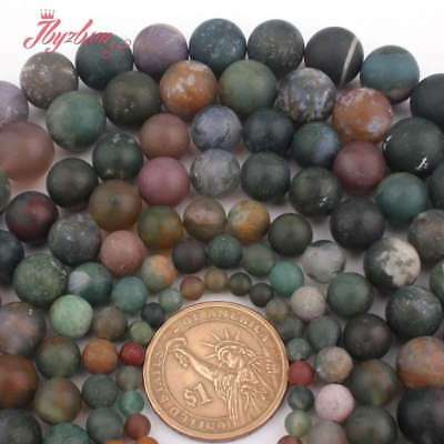 6,8,10,12mm Round Frost Natural Indian Agate Stone Beads For Jewelry Making 15""