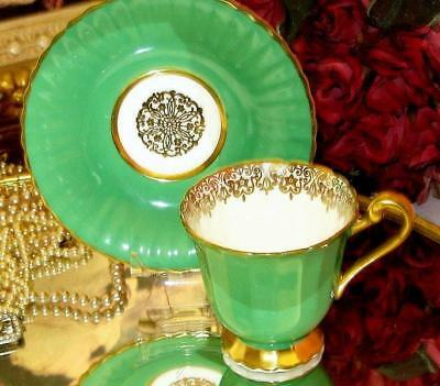 PARAGON Cup & Saucer LIME GREEN GOLD DEMI Double Warrant Teacup Bone China