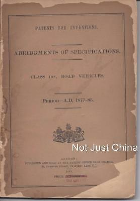 Patents for Inventions (1893) - English Road Vehicles (Motor Cars, Auto) 1877-83