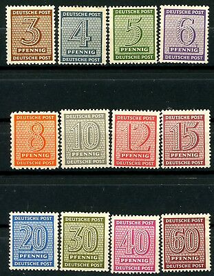 Germany West Saxony 1945 Numerals Set of 12 MH Scott's 14N1 to 14N12 Mi 126-137