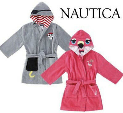 Boys Nautica Hooded Pool Beach Cover Up Robe Gown for Swimming, Terry Toweling