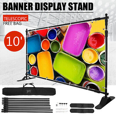 10' Telescopic Step and Repeat Banner Backdrop Stand Adjustable Photo Display