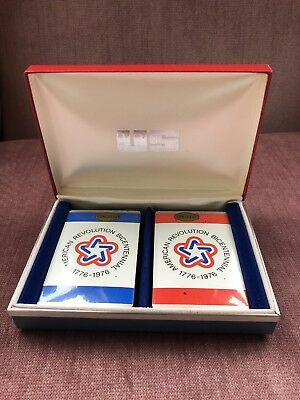 VTG 1776-1976 American Revolution Bicentennial Playing Cards in Case