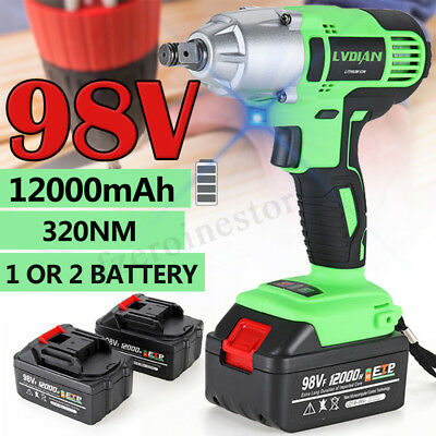 Cordless Impact Wrench Gun Set Electric Drill Hammer Tool Battery W/ LED Light