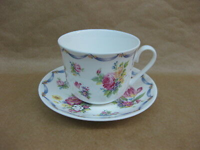 Roy Kirkham Dresden Spray Breakfast Cup & Saucer ~ English Fine Bone China