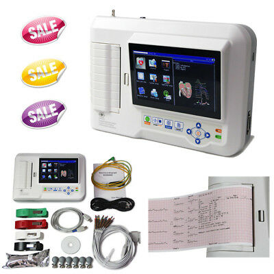 6 Channel 12 Lead Electrocardiograph Portable ECG Machine Touch EKG USB Software