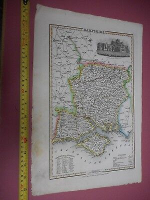 100% Original Hampshire Isle Of Wight Map By J Pigot C1838 Vgc Low Uk Post
