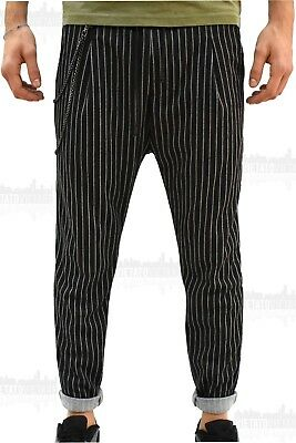 Pantalone Tuta Uomo Casual ChRoy Rigato Striped Cavallo Basso Slim Fit Corto
