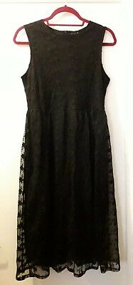 35a165837d5d8 BOOHOO Night size 12 black lace overlay floral sleeveless party occasion  dress