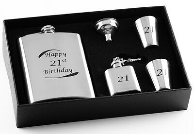 21st Birthday Stainless Steel 5 Piece Hip Flask Gift Set - Engravable Keepsake