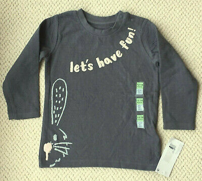 Baby M&S Kids Age 12-18 Months Long Sleeve Pure Cotton Let's Have Fun Top Pewter
