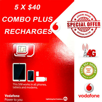 Vodafone 175 days Prepaid Starter Pack with 5 x $40 Combo Plus recharges
