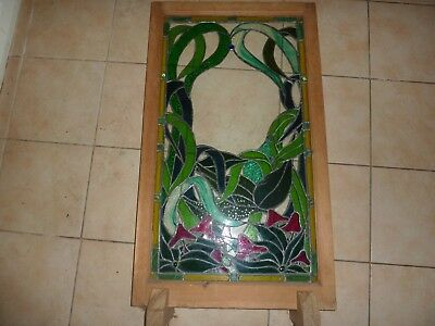 Pine Framed 86.3Cm By 47.5Cm Stained Glass Panel With Green Leaf & Red Patterns