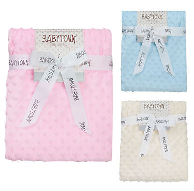 Baby Waffle Blanket Infant Girls Boys Super Soft Wrap 75 x 90 cm Pink Blue Cream